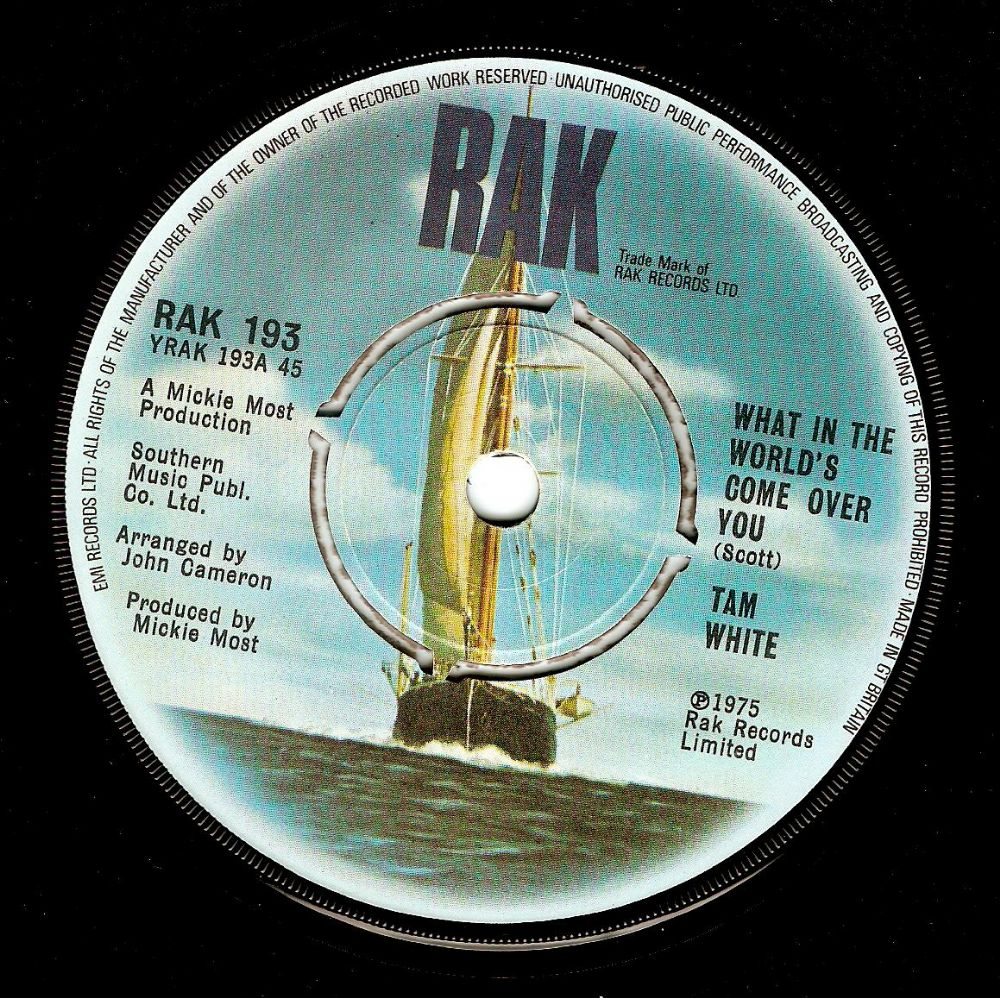 TAM WHITE What In The World's Come Over You Vinyl Record 7 Inch RAK 1975